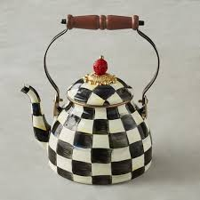 mackenzie childs courtly check tea kettle