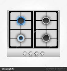 Gas stove isolated on white top view Stock Vector