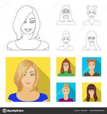 メガネの女の子髪型で女性の顔顔と外観がフラット スタイル ベクトル
