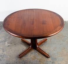 mid century modern dining table glenn california round leaf x3 solid walnut mcm