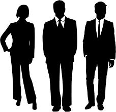 フリーイラスト 3人のビジネスチームのシルエット パブリックドメイン
