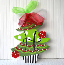 Decorative Door Hangers Unfinished Wood Shape Christmas Tree Door Hanger Christmas