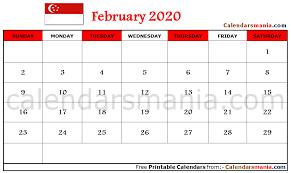 February 2020 Calendar Template Printable February 2020 Calendar Singapore