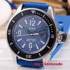 <b>43mm bliger blue dial</b> ceramic bezel rubber strap miyota automatic ...