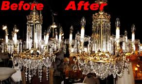 crystal chandelier repair before after