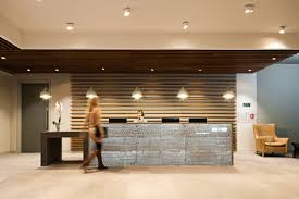 contemporary office reception. Create Open Plank Ceiling Attached To Wall Behind Reception: A Place Add Overhead Lighting And Way Break Up Huge Space. Contemporary Office Reception P