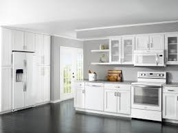 Interesting Modern White Kitchen Dark Floor With Simple Design