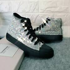 Ebay Asian Size Chart Details About Handmade Sequins Women High Top Shoes Street Shoot Canvas