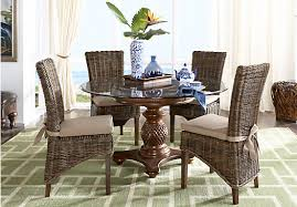 dining room set furniture. cindy crawford home key west tobacco 5 pc round dining room with rattan chairs set furniture