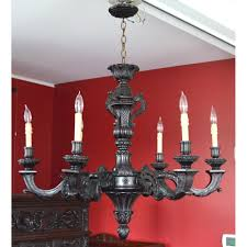 stunning antique ebonized french carved wood six light arm chandelier