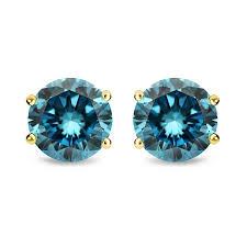 parikhs blue round diamond stud in 14k yellow gold 0 09ct
