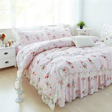 100 cotton pink blue flowers bedding sets duvet cover lace bed skirt single twin queen king 3 high quality home textiles single duvet double duvet from