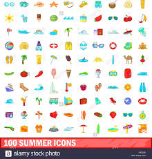 Summer Icons 100 Summer Icons Set Cartoon Style Stock Vector Art