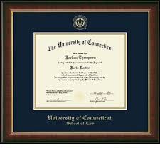 Uconn At amp; Law Noble Church Embossed Barnes Diploma Murano Hill Frame Classics