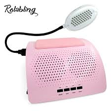rolabling nail dust collector vacuum nail suction dust collector 2 fans powerful manicure machine with led l pink vacuum cleaner nail salon manicure