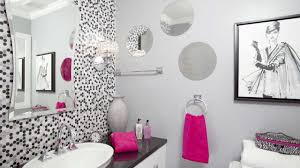 bathroom: Stunning Decor Of Girls Bathroom Ideas With Polkadot Background  Also Sleek Cabinet Again Sink