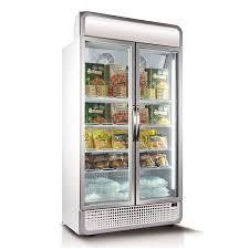 husky vertical double glass door commercial freezer with lightbox