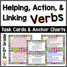 Helping Verbs Linking Verbs And Action Verbs Task Cards