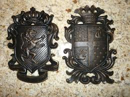 superb old world style bathroom 0 set of 2 shield wall plaques coat of