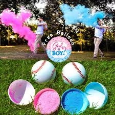 details about gender reveal party baseball pink and blue set baby shower boy or girl