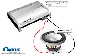 subwoofer wiring diagrams sonic electronix one single 4 ohm sub 4 ohm 2 chan amp bridged see diagram
