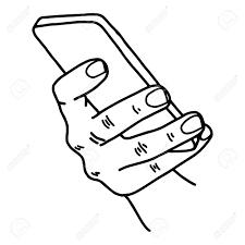 右手で携帯電話を使用して白い背景で隔離の黒い線で描かれたベクター イラスト スケッチ手