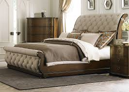 grey upholstered sleigh bed. Bedroom Wonderful Coastal Furniture Antique Mahogany Finish Ceam Fabric Upholstered Sleigh Bed With Button Tufting Grey
