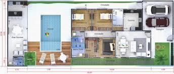 O projeto tem 58,02 m², contando com dois quartos espaçosos, um banheiro clean e uma cozinha integrada com a sala. Plantas De Casas Terrea Com Piscina Ideias Para Voce Aproveitar Todo Espaco Ideias Decor