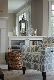 like the calming colors and that patterned accent chair living room