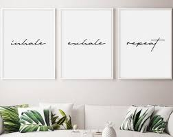 Bedroom wall decor tumblr Small Inhale Exhale Repeat Wall Art Inhale Exhale Repeat Print Set Of Prints Typographic Print Bedroom Decor Tumblr Room Decor Boho Etsy Tumblr Wall Decor Etsy