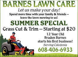 Lawn Mowing Ads Summer Special Barnes Lawn Care Caledonia Mn