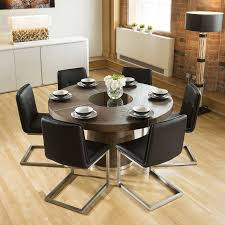 low back dining chairs. Quatropi Large Round Elm Oak Dining Set 6 Black Low Back Chairs L
