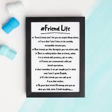 Hashtag Friend Life Print Quotes About Friends