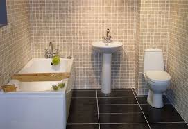 simple bathrooms designs. Mosaic Tile Walls And Freestanding Tub With Pedestal Sink For Simple Bathroom Designs Bathrooms