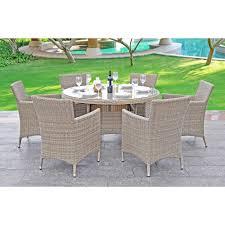bali round garden dining set 6 dining chairs