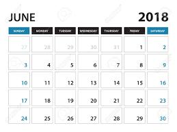 Printable Calendar For June 2018 Planner Design Template Week