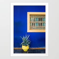 moroccan garden in blue yellow flower