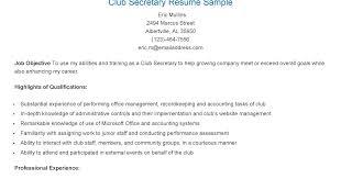 secretary resume sample resume samples club secretary sample custodial examples of secretary resumes