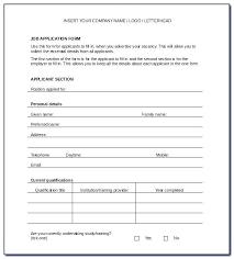 Generic Employment Application Form Job Application Form Template Job Application Form