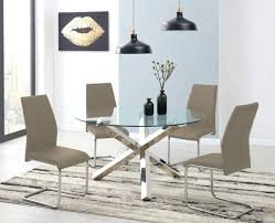 vogue dining table large round circular chrome metal clear glass and 4 6 riverside