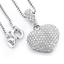 pave diamond heart pendant 0 48ct sterling silver main image