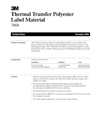 М <b>Thermal Transfer Polyester</b> Label Material