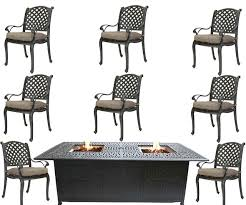 9 piece fire pit dining table and