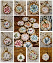 all holiday tiny embroidery necklace designs