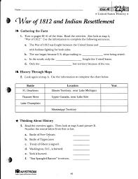 War Of 1812 Chart War Of 1812 And Indian Resettlement Merged