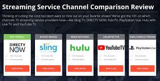 Dish Channel Comparison Chart Sling Vs Directv Now Vs Ps Vue Vs Hulu Tv Channel
