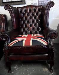 stunning chesterfield wide queen anne wing back chair union jack oxblood leather uk delivery