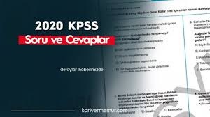 2020 KPSS Ortaöğretim Soruları ve Cevap Anahtarı -Akılda Kalanlar – Kariyer  Memur