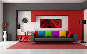 Living Room:Vibrant Red Interior With Modern Colour Scheme Also White  Storage Units Assorted Modern