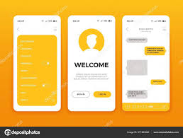 Design Of Screen Mobile App User Interface Screen Design Vector Set Of